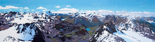 Mont Fort Summer Panorama, Verbier Acrylic Painting on Plywood, 50cm x 180cm {link:/shop}Available as Print from the shop{/link}