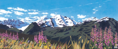 VERBIER SMALL SUMMER PANORAMA by Lucy Dunnett