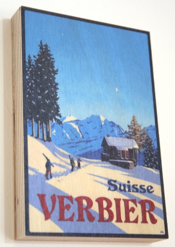 Chalet Creusy, Clambin, Verbier Poster by Lucy Dunnett. Wood Print.