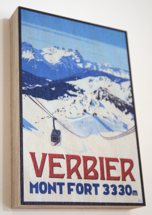 Mont Fort, Verbier Poster by Lucy Dunnett. Wood Print.