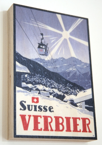 Savoleyres, Verbier Poster by Lucy Dunnett. Wood Print.
