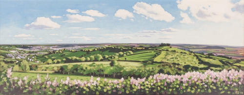 Painting of Kelston Roundhill and the City of Bath by Lucy Dunnett