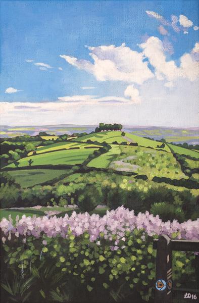 Painting of Kelston Roundhill, Bath, from Prospect Stile by Lucy Dunnett