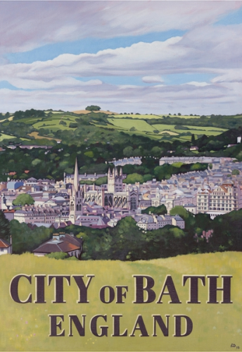 Bath poster - Giclée print of 'poster style' painting of the City of Bath by artist Lucy Dunnett