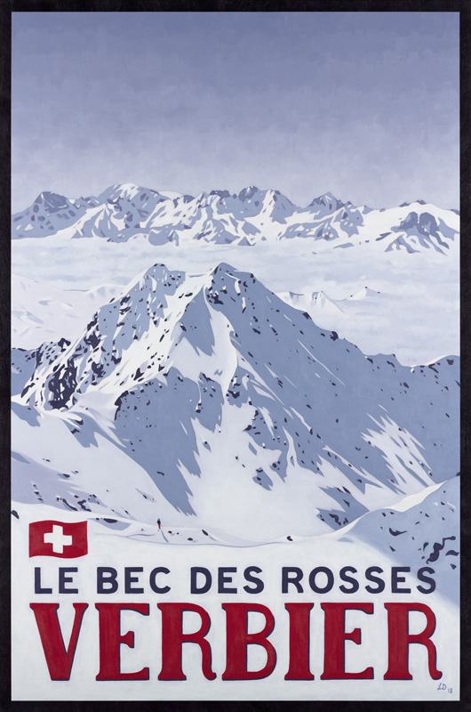 Poster of Le Bec des Rosses, Verbier by Lucy Dunnett