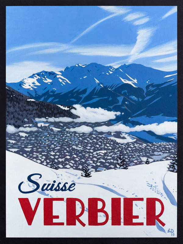 Verbier Poster, Savoleyres Freeride by Lucy Dunnett